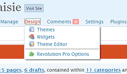 Admin Drop Down Menus screenshot