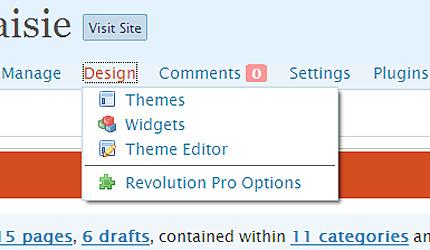 Admin Drop Down Menus screenshot