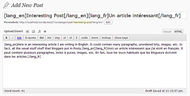 Write Post using Language Switcher tags